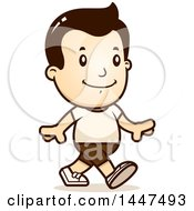 Clipart Of A Retro White Boy Walking In Shorts Royalty Free Vector Illustration by Cory Thoman