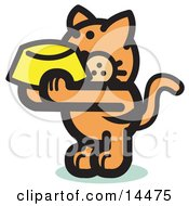 Hungry Orange Cat Holding Up A Yellow Food Dish Waiting To Be Fed