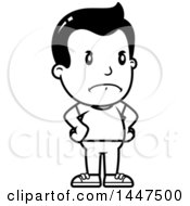 Clipart Of A Retro Black And White Angry Boy With Hands On His Hips Royalty Free Vector Illustration