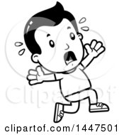 Clipart Of A Retro Black And White Boy Running Scared Royalty Free Vector Illustration