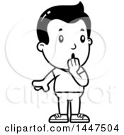 Clipart Of A Retro Black And White Surprised Gasping Boy Royalty Free Vector Illustration
