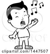 Retro Black And White Boy Singing