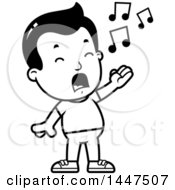 Poster, Art Print Of Retro Black And White Boy Singing