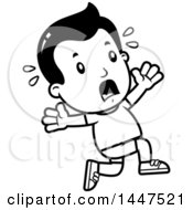 Clipart Of A Retro Black And White Boy In Shorts Running Scared Royalty Free Vector Illustration