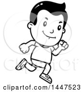 Clipart Of A Retro Black And White Boy Running In Shorts Royalty Free Vector Illustration