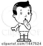 Clipart Of A Retro Black And White Surprised Gasping Boy In Shorts Royalty Free Vector Illustration