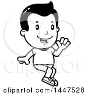 Clipart Of A Retro Black And White Boy Sitting And Waving In Shorts Royalty Free Vector Illustration