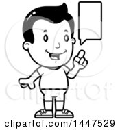Clipart Of A Retro Black And White Talking Boy In Shorts Royalty Free Vector Illustration