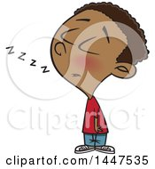 Clipart Of A Cartoon African American Boy Dozing While Standing Up Royalty Free Vector Illustration
