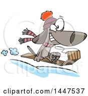 Clipart Of A Cartoon Dog Grinning And Catching Air While Sledding Royalty Free Vector Illustration by toonaday