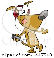 Clipart Of A Cartoon Dog Dancing And Listening To Music With An MP3 Player Royalty Free Vector Illustration by toonaday