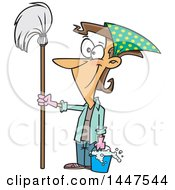 Cartoon Happy Caucasian Woman Ready For Spring Cleaning Holding A Mop And Bucket