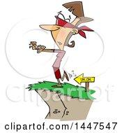 Cartoon Blindfolded Caucasian Woman Heading To A Cliffs Edge