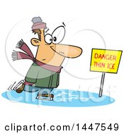 Clipart Of A Cartoon Caucasian Man Skating On Thin Ice Royalty Free Vector Illustration