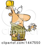 Poster, Art Print Of Cartoon Clumsy White Male Carpenter Holding A Hammer And Looking At His Injured Fingers All Thumbs