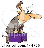 Poster, Art Print Of Cartoon Exhausted Caucasian Man Carrying Briefcases On A Business Trip