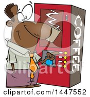 Cartoon African American Business Man Using A Coffee Machine At Break Time
