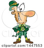 Clipart Of A Cartoon Confident St Patricks Day Leprechaun Grinning And Standing With Hands On His Hips Royalty Free Vector Illustration by Ron Leishman