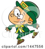Clipart Of A Cartoon Energetic St Patricks Day Leprechaun Boy Jumping Royalty Free Vector Illustration