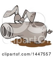 Clipart Of A Cartoon Pig In A Mud Puddle Royalty Free Vector Illustration