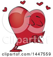 Clipart Of A Cartoon Heart Mascot Character Puckered Up For A Kiss Royalty Free Vector Illustration