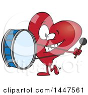 Clipart Of A Cartoon Heart Mascot Character Playing A Drum Heartbeat Royalty Free Vector Illustration by toonaday