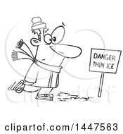 Cartoon Black And White Lineart Man Skating On Thin Ice
