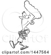 Cartoon Black And White Lineart African American Teenage School Girl Walking