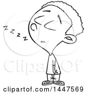 Clipart Of A Cartoon Black And White Lineart African American Boy Dozing While Standing Up Royalty Free Vector Illustration