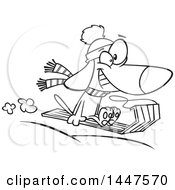 Clipart Of A Cartoon Black And White Lineart Dog Grinning And Catching Air While Sledding Royalty Free Vector Illustration