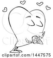 Clipart Of A Cartoon Black And White Lineart Heart Mascot Character Puckered Up For A Kiss Royalty Free Vector Illustration