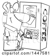 Poster, Art Print Of Cartoon Black And White Lineart African American Business Man Using A Coffee Machine At Break Time