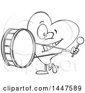Cartoon Black And White Lineart Heart Mascot Character Playing A Drum Heartbeat