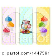 Clipart Of Vertical Polka Dot Banners With Cupcakes Royalty Free Vector Illustration