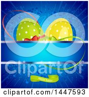 Blue Easter Background With Green And Yellow Polka Dot Eggs Over A Banner And Text Space