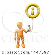 3d Orange Man Holding A Telephone Connected To An Information Balloon On A White Background