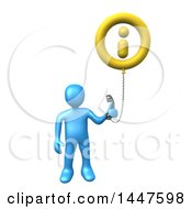 3d Blue Man Holding A Telephone Connected To An Information Balloon On A White Background