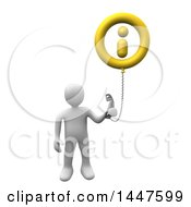 3d White Man Holding A Telephone Connected To An Information Balloon On A White Background