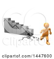 Poster, Art Print Of 3d Orange Man Running Away From A Collapsing Bar Graph On A White Background