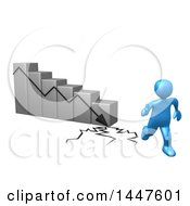 Poster, Art Print Of 3d Blue Man Running Away From A Collapsing Bar Graph On A White Background
