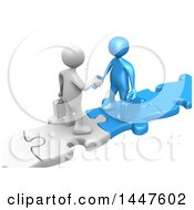 Clipart Of 3d White And Blue Business Men Standing On Connected Jigsaw Puzzle Pieces And Shaking Hands On A White Background Royalty Free Illustration