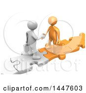 Clipart Of 3d White And Orange Business Men Standing On Connected Jigsaw Puzzle Pieces And Shaking Hands On A White Background Royalty Free Illustration