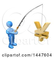 Clipart of a 3d Blue Man Holding a Fishing Pole with a Yen Symbol As Bait, on a White Background - Royalty Free Illustration by 3poD #COLLC1447604-0033