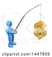 3d Blue Man Holding A Fishing Pole With A USD Dollar Symbol As Bait On A White Background