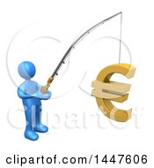 Poster, Art Print Of 3d Blue Man Holding A Fishing Pole With A Euro Symbol As Bait On A White Background