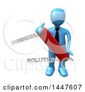 3d Blue Business Man Holding A Business Solution Swiss Army Knife On A White Background