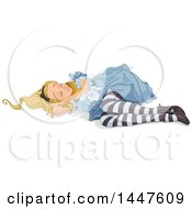 Clipart Of Alice In Wonderland Sleeping On The Ground Royalty Free Vector Illustration by Pushkin