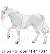 Clipart Of A Cute Gray Horse Walking In Profile Royalty Free Vector Illustration