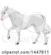 Poster, Art Print Of Cute Gray Horse Walking In Profile