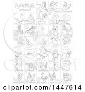 Poster, Art Print Of Black And White Lineart Chart Of Cute Animals And Insects With Russian Alphabet Letters